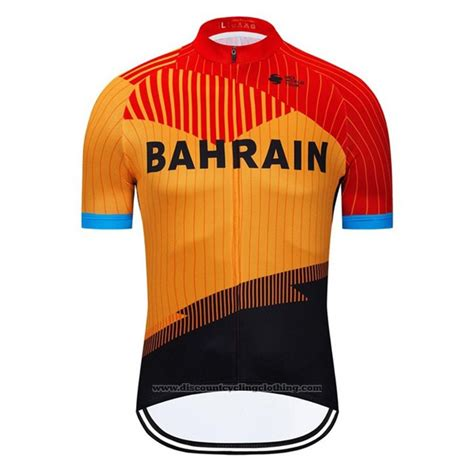 2020 Cycling Jersey Bahrain Orange Black Short Sleeve And ...
