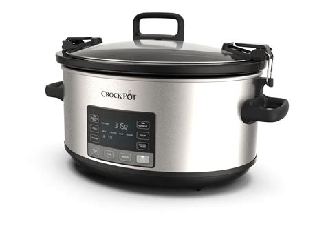 pot crock lid cooker slow locking qt stainless steel programmable mytime master