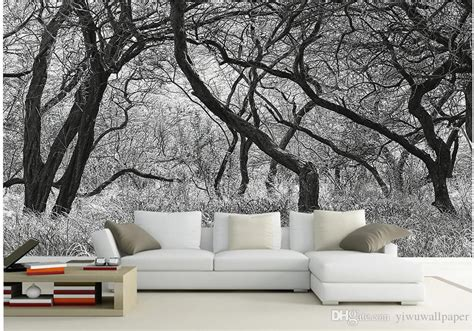 black  white trees  frescoes mural  wallpaper