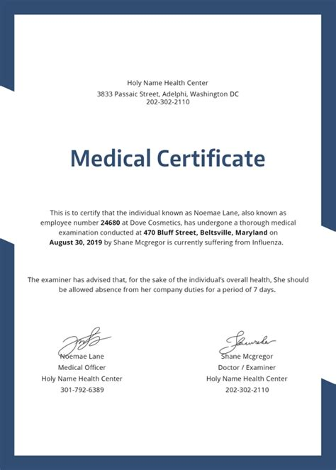 hospital medical certificate template   word