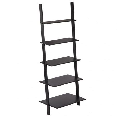 Metal Leaning Bookcase by Modern 5 Tiers Ladder Bookshelf Bookcase Leaning Ladder
