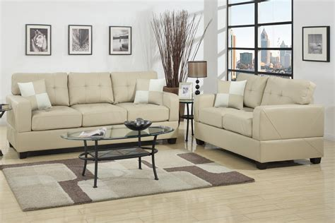 Leather Sofa And Loveseat Sets by Poundex F7342 Beige Leather Sofa And Loveseat Set
