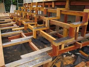 Escalier Terrasse Bois : construction d 39 un escalier en bois pour terrasse ~ Nature-et-papiers.com Idées de Décoration