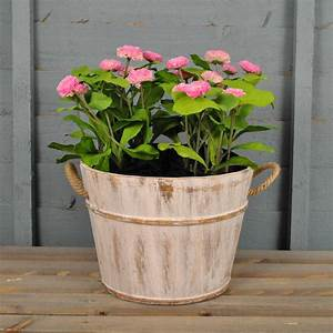 whitewashed wooden pail planter by garden selections ...