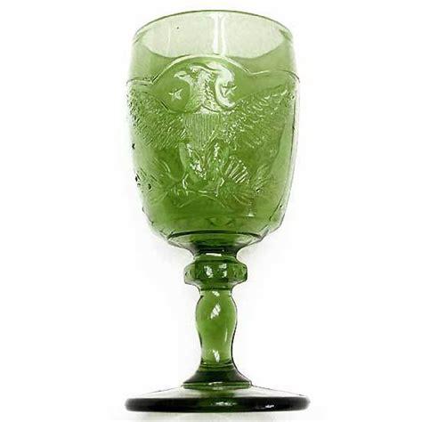 green glass l eagle goblet l e smith vintage 1960s antique green