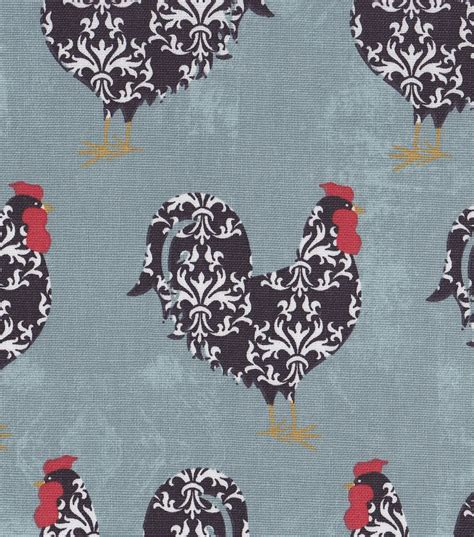 Blue Home Decor Fabric by Rural Fabric Damask Roosters On Blue Home Decor At Joann