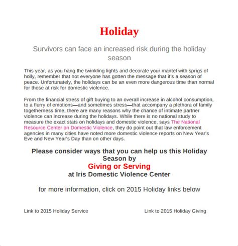sle holiday memo 7 documents in pdf