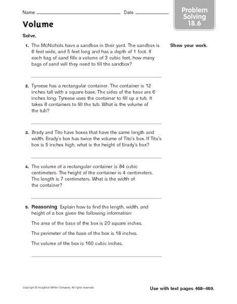 volume problem solving 18 6 worksheet for 4th 6th