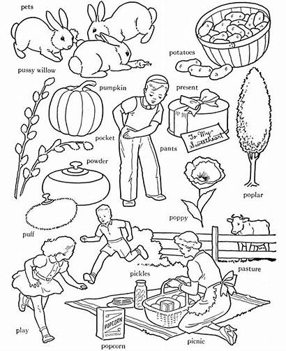 Coloring Picnic Words Alphabet Letter Activity Sheet