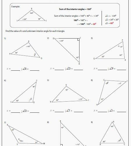 finding missing angles in triangles worksheet wp