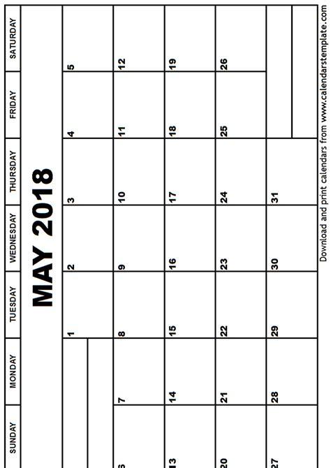 Calendar Template 2018 May 2018 Calendar Template