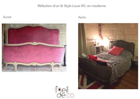 chambre tapisserie l 39 oeil de co tête de lit louis xv refaite en moderne l