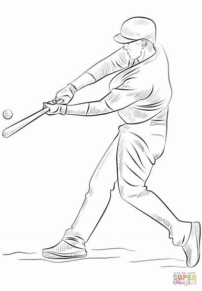 Baseball Coloring Player Pages Cubs Chicago Draw