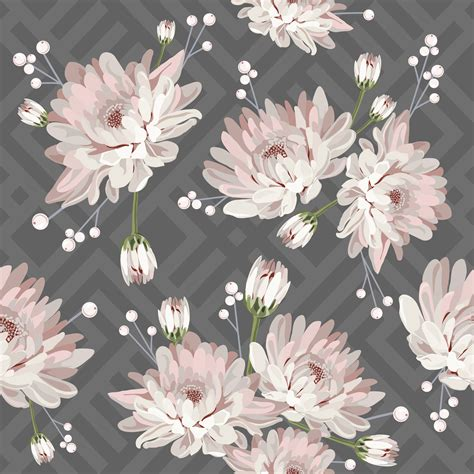floral seamless pattern  chrysanthemums  grey