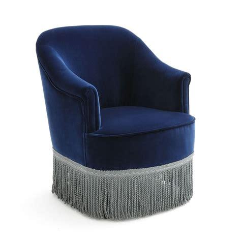 la redoute canapé fauteuil crapaud velours frangé vintage ramona bleu nuit