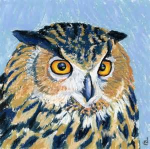 Pastel Owl Paintings