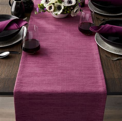 """Grasscloth 90"""" Violet Purple Table Runner   Crate and Barrel"""