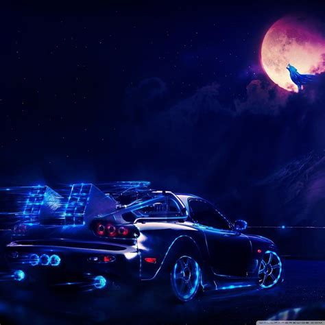 Neon Car Going To The Moon Wolf 4k Hd Desktop Wallpaper