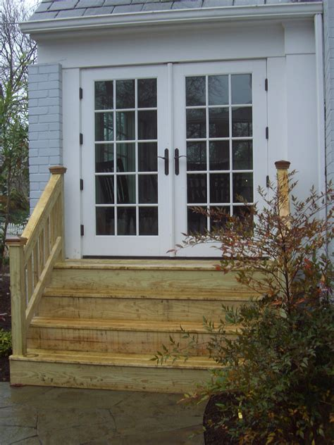 wood steps  french doors patio stairs patio steps patio