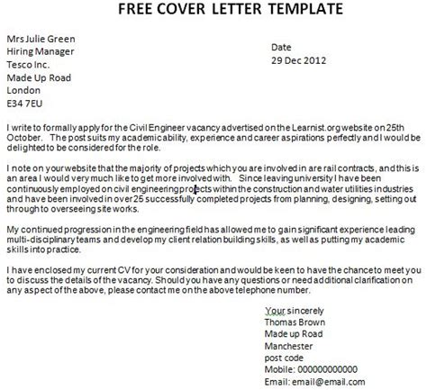 Free Covering Letter Template Uk by Application Cover Letter Academic