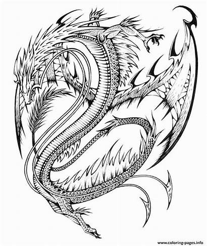 Dragon Coloring Pages Complex Adults Printable Difficult