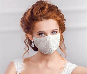 Bridal Face Mask  Wedding White Lace Mask Two Layers
