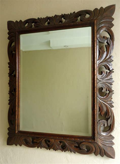 miroir ancien encadrement en bois sculpt 233