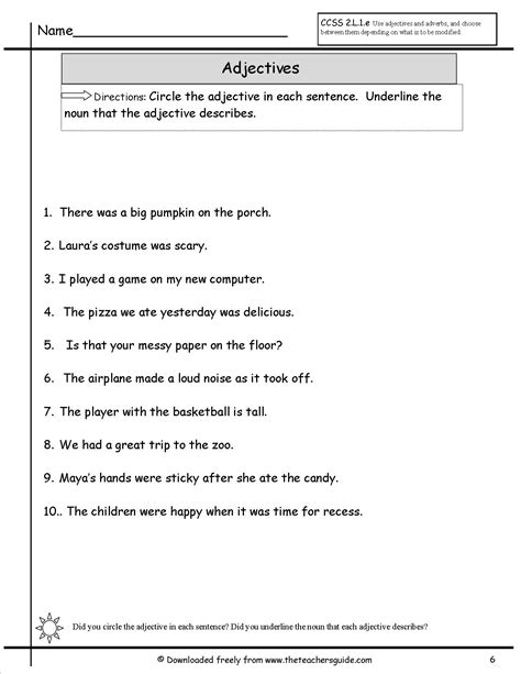 worksheet adjectives nouns and verbs free printables worksheet