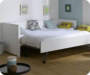 Lit Ado Design : lit gigogne nova blanc 80x200 cm achat mobilier bois ~ Teatrodelosmanantiales.com Idées de Décoration