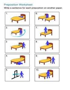 preposition worksheets  place time  movement