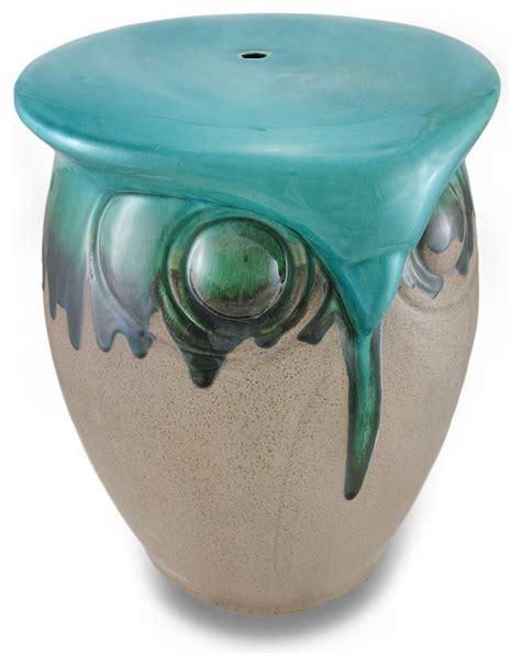 turquoise blue ceramic owl decorative accent stool