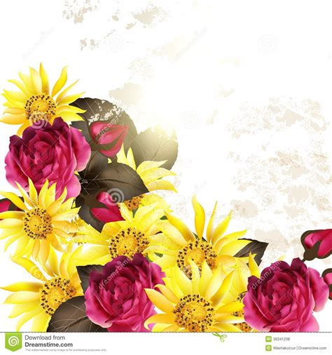 yellow flower design floral vector background with rose flowers stock vector image 36341238