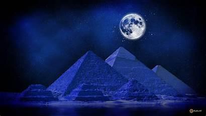 Pyramids Moon Midnight Digital Artwork Wallpapers Deserts