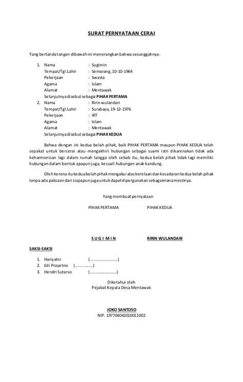 contoh surat permohonan cerai  muslim surat
