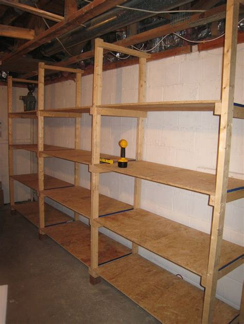 build inexpensive basement storage shelves diy