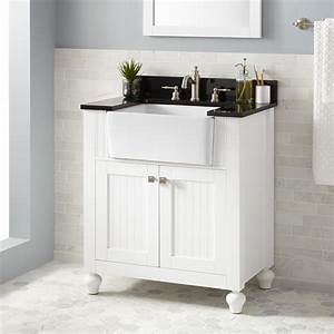 30quot nellie farmhouse sink vanity white bathroom for White vanity cabinets for bathrooms