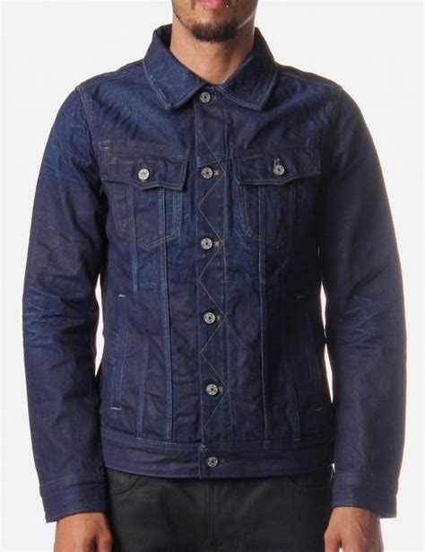 star raw slim tailor mens upcycle denim jacket indigo