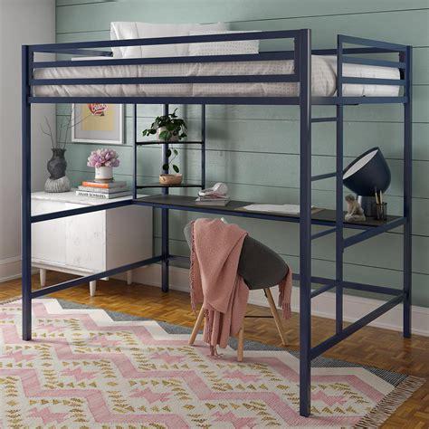 novogratz maxwell metal full loft bed  desk shelves