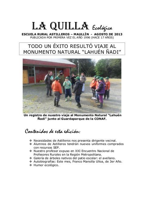 La Quilla Ecologica Mes De Agosto Del 2013