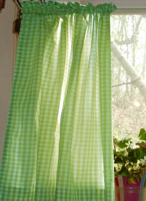 lime green gingham kitchencafe curtain unlined