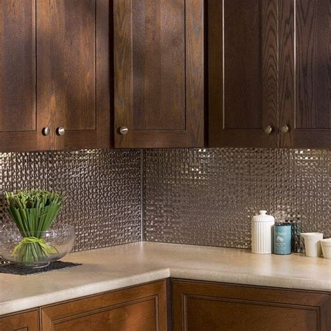 Kitchen Backsplash Kits by Fasade Terrain In Brushed Nickel Backsplash 18 Square Kit