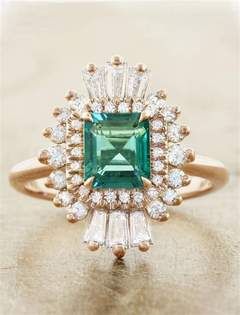 caldonia unique art deco inspired emerald ring ken