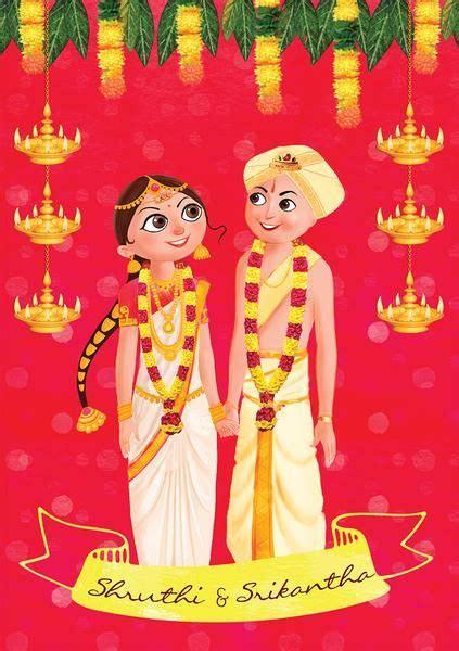 illustrated wedding invitation india sid