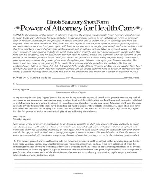 power  attorney form fillable printable