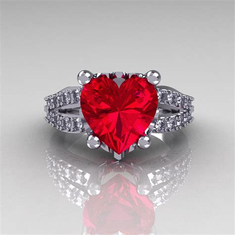 modern vintage  white gold  carat heart red ruby