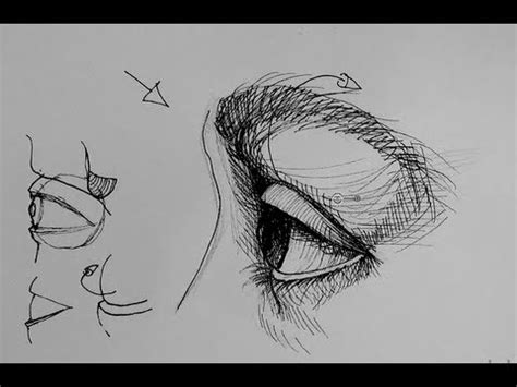 ink drawing tutorials   draw  eye  side