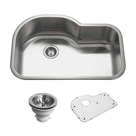 single bowl kitchen sink with offset drain houzer belleo series drop in stainless steel 32 in offset 9765