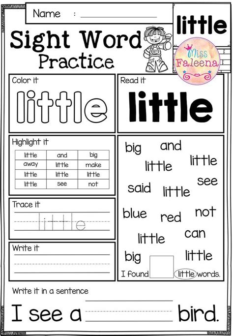 sight word practice pre primer all subjects and grades