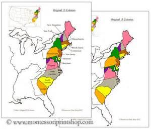 13 Original Thirteen Colonies Map