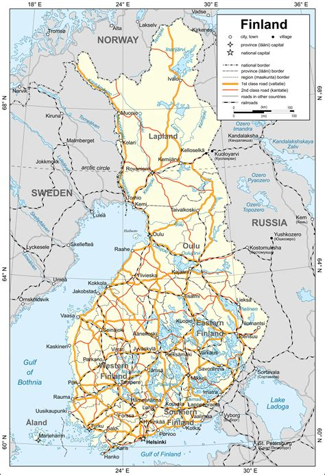 large map  finland  cities finland large map